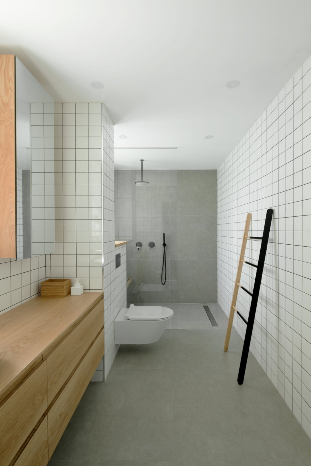Bath, One Piece, Open, Subway Tile, Recessed, Wood, and Full  Best Bath Wood One Piece Photos from Graphic Design Guides an Apartment Renovation in Tel Aviv