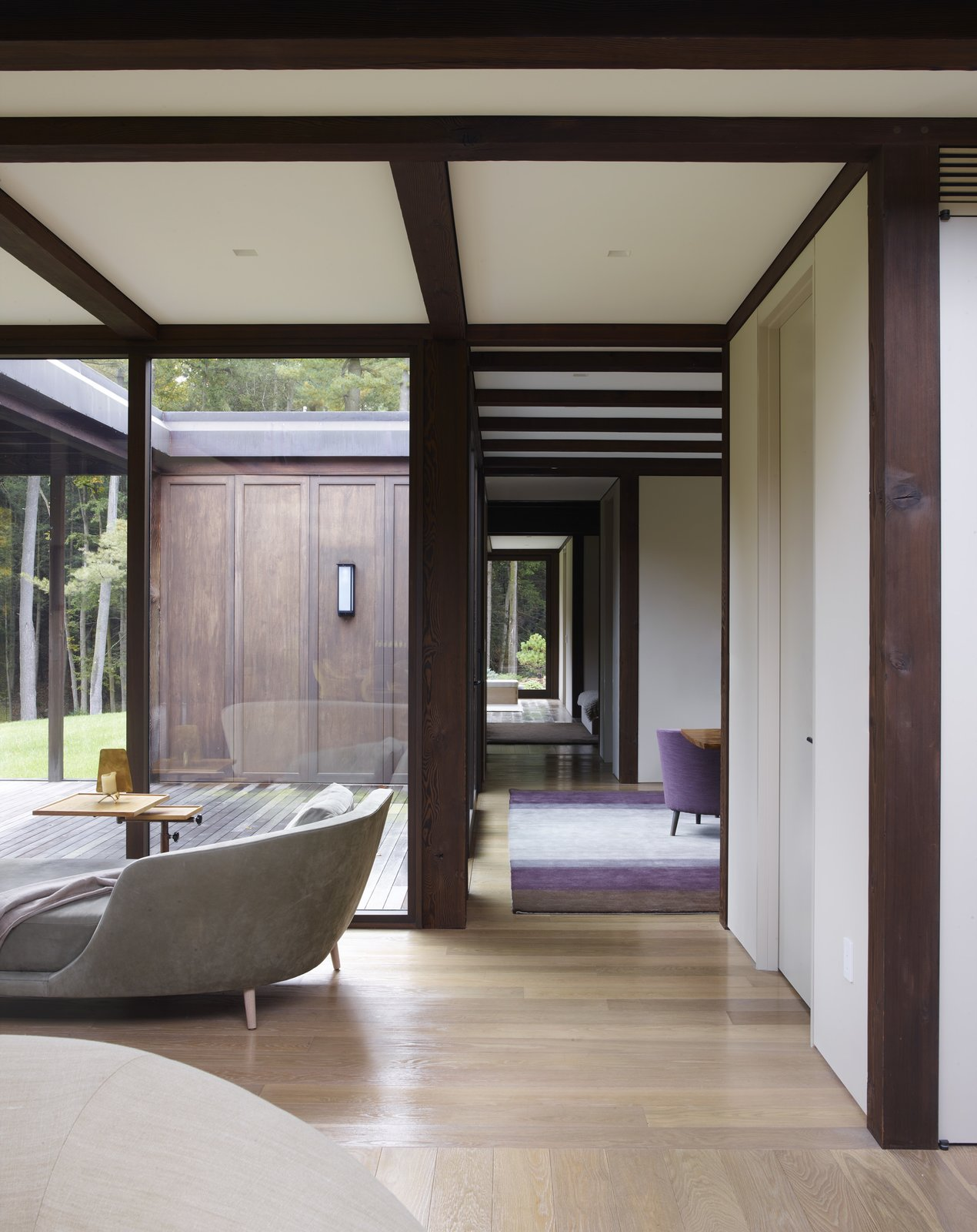 Hallway and Medium Hardwood Floor  Photo 3 of 15 in Feast Your Eyes on Fashion Designer Josie Natori's Japanese-Inspired Home