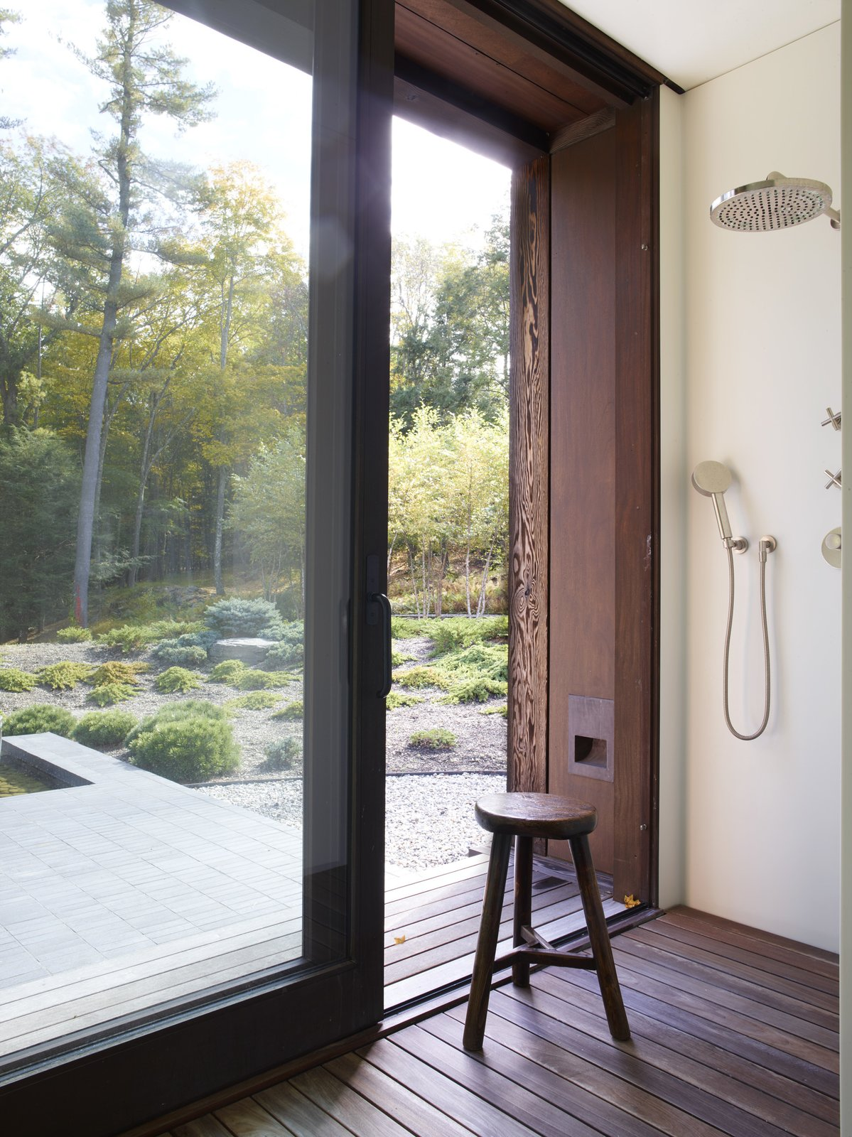 Bath Room, Open Shower, and Dark Hardwood Floor  Photo 8 of 15 in Feast Your Eyes on Fashion Designer Josie Natori's Japanese-Inspired Home