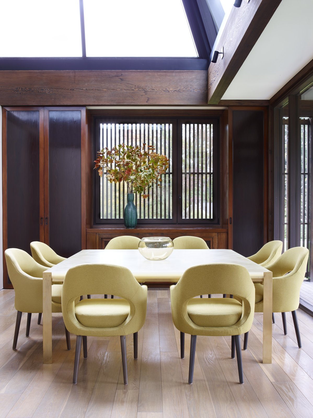 Dining Room, Table, Medium Hardwood Floor, Chair, and Track Lighting  Photo 10 of 15 in Feast Your Eyes on Fashion Designer Josie Natori's Japanese-Inspired Home