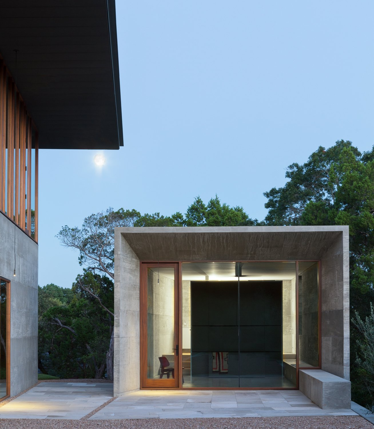 Shed & Studio and Living Space Room Type  Best Photos from A Dramatic Roof and Board-Formed Concrete Keep This Texas Residence Cool