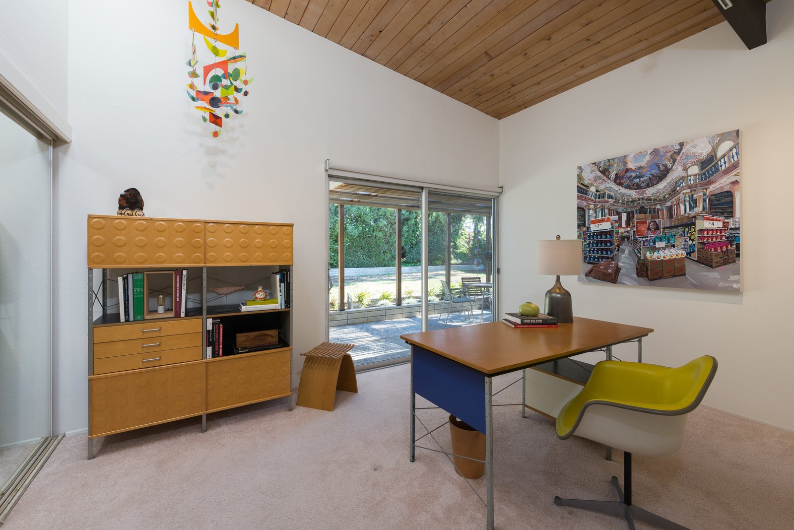 Office, Study, Desk, Chair, Carpet, and Lamps  Best Office Lamps Carpet Photos from An Immaculate Midcentury Abode in San Diego Asks $1.55M