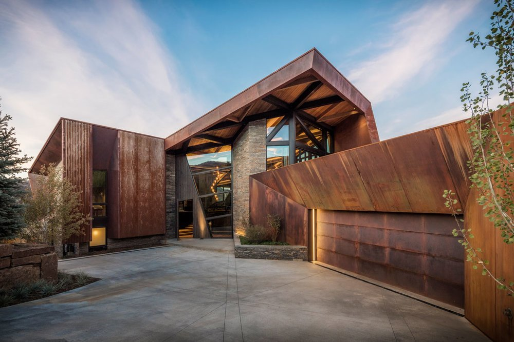 Exterior, Metal Roof Material, Metal Siding Material, Stone Siding Material, Glass Siding Material, and House Building Type  Photo 7 of 16 in An Angular Mountain Retreat in Colorado Captures Breathtaking Views