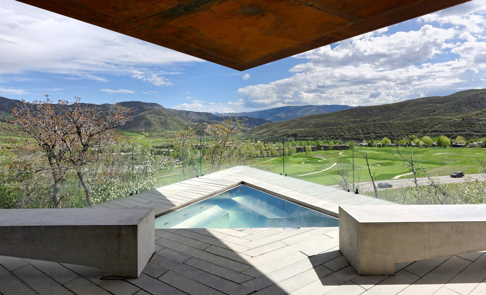 Outdoor, Plunge, Concrete, Small, Concrete, and Hot Tub  Outdoor Concrete Plunge Photos from An Angular Mountain Retreat in Colorado Captures Breathtaking Views