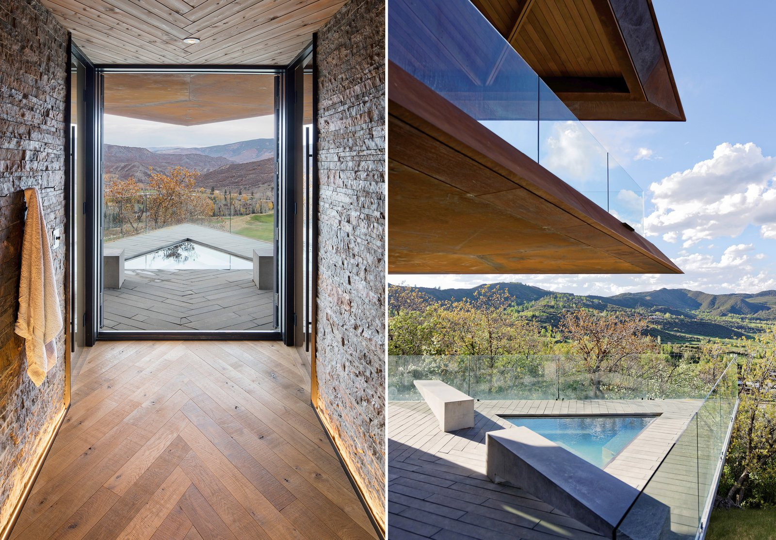 Outdoor, Trees, Small, Plunge, Concrete, Concrete, and Hot Tub  Outdoor Concrete Plunge Small Photos from An Angular Mountain Retreat in Colorado Captures Breathtaking Views