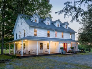 A former boarding house in pastoral Shohola, Pennsylvania is transformed into a large and cozy holiday rental.