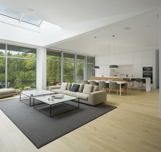 A skylight brings plenty of natural light into the living room.