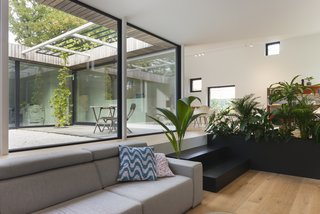 A Belgian Architect's Courtyard House Offers Work/Life Balance - Photo 9 of 13 - A black planter with ferns separates the living lounge from the dining area.