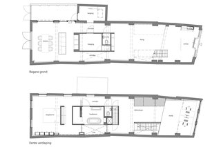 The floor plan for both the ground and upper level.