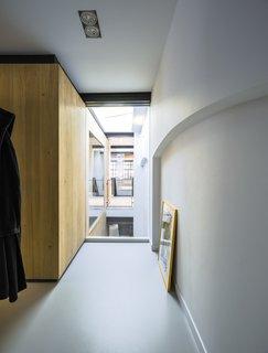 A peek at one of the long, narrow hallways.