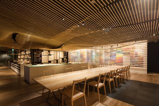 A peek inside Pigment, a painting supply store in Japan by Kengo Kuma.