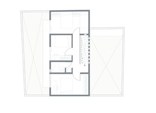 A floor plan of the interiors and two courtyards.