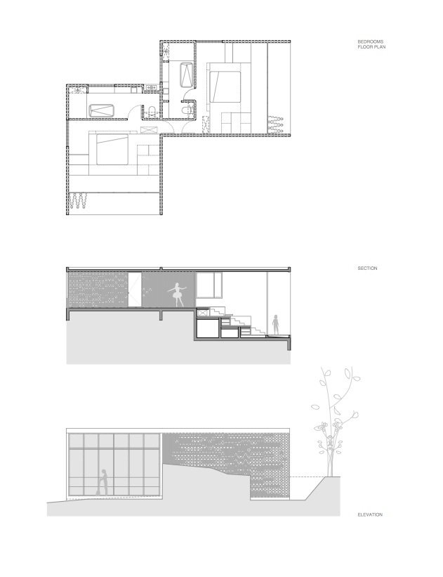 Floor plan for the smaller L-shaped volume.  Photo 16 of 16 in A Mirrored Mexican Home Hides Among a Lush Forest