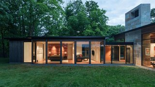 The secluded site allows the design to focus on a high level of transparency.