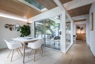 Glass sliding doors allow for interesting interior perspectives.