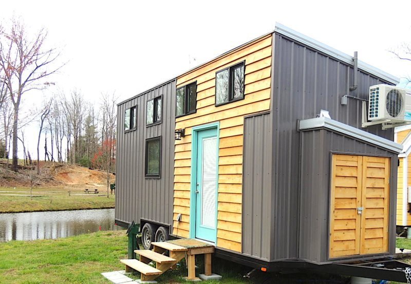 A vacation retreat for rent at a micro-house village near the Great Smoky Mountains in Flat Rock, North Carolina.