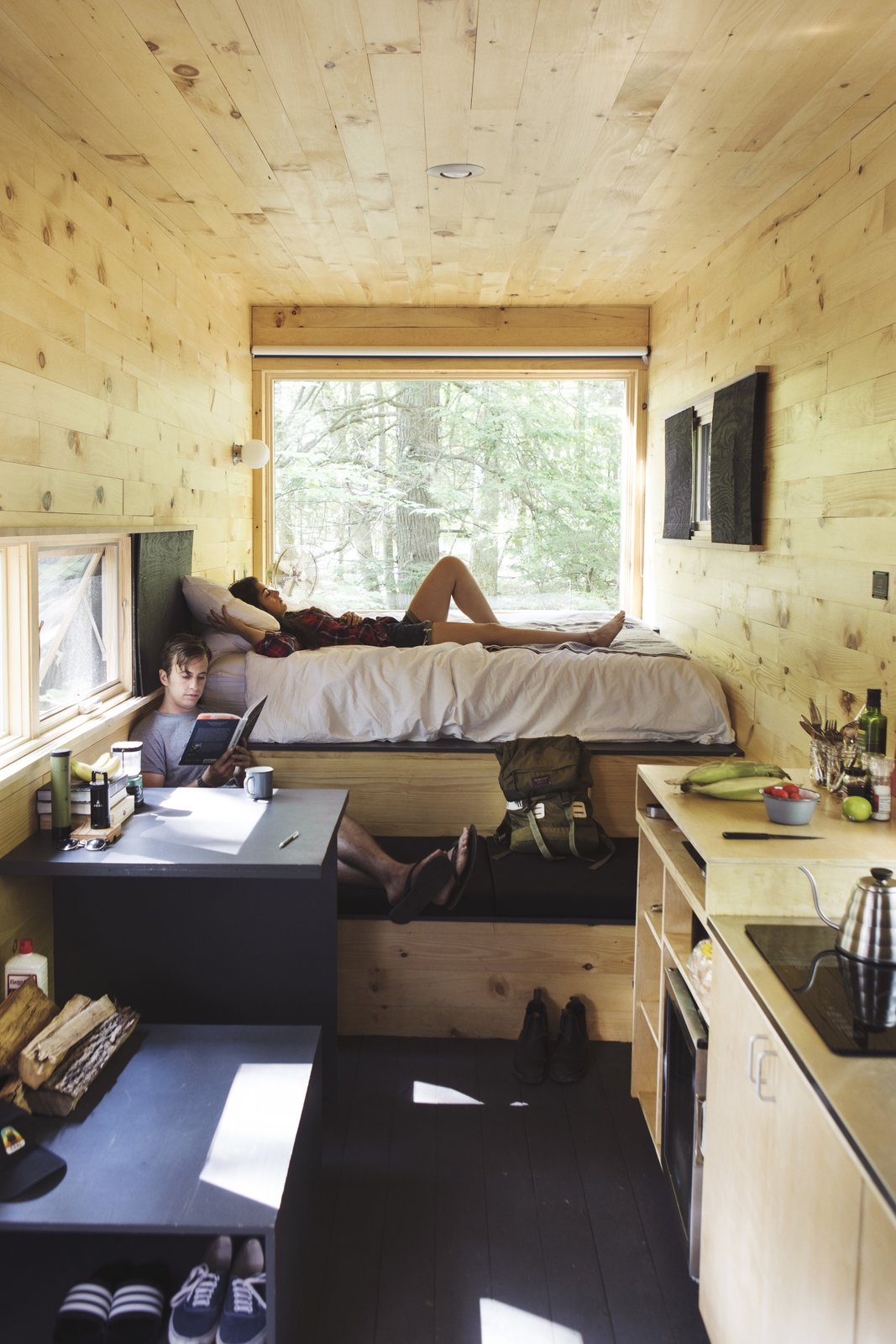 Cabin interior with plenty of built-in storage.