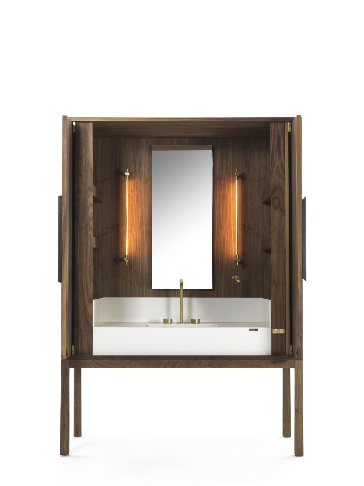 This Italian-style vanity credenza lets you bring the warmth of wood to your bathroom or bath space.