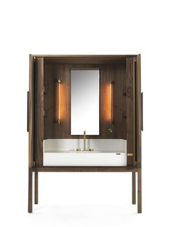 7 Stylish Bathroom Sinks That Can Fit in Even the Tiniest of Spaces - Photo 6 of 8 - This Italian-inspired vanity credenza lets you bring the warmth of wood to your bathroom.