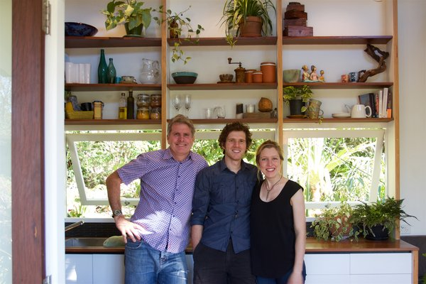 Australian carpenter and builder Gregg Thornton (left) teamed up with architectural graduates Andrew Carter (middle) and Lara Nobel (right) to create The Tiny House Company.