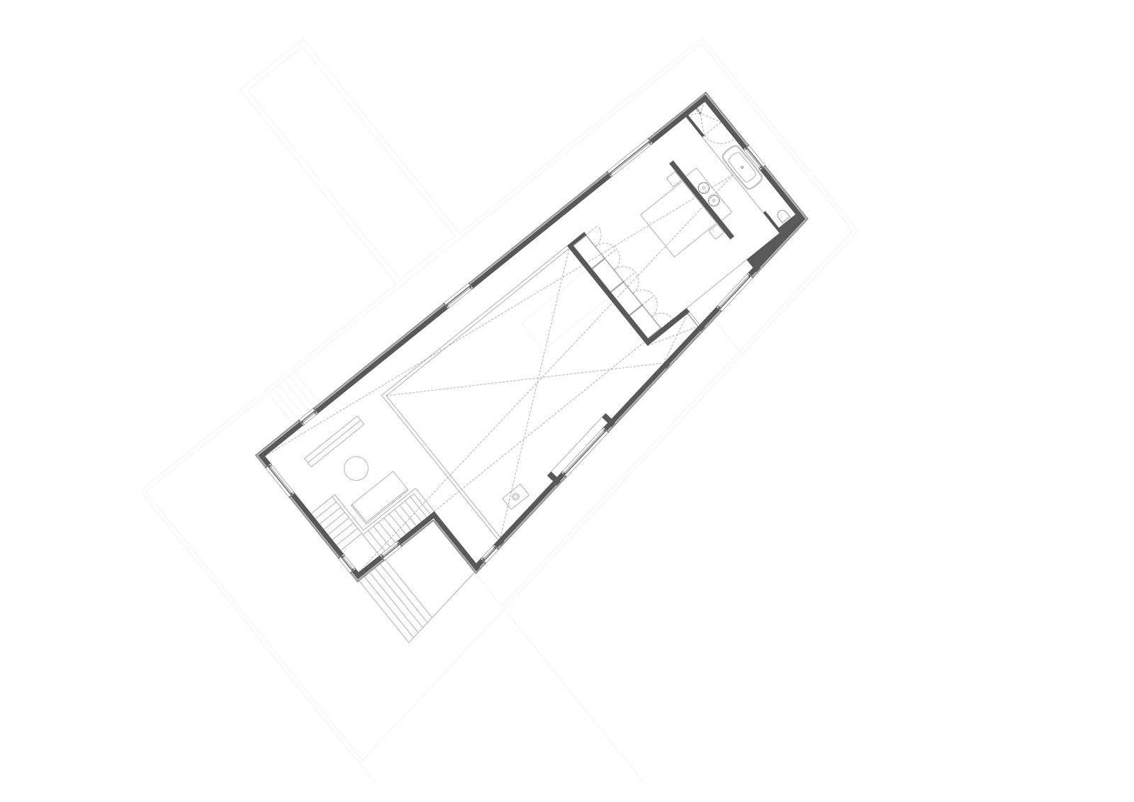 Upper level floor plan drawing.