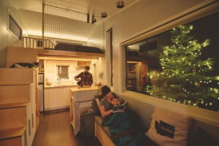 A cozy family Christmas in the tiny home.