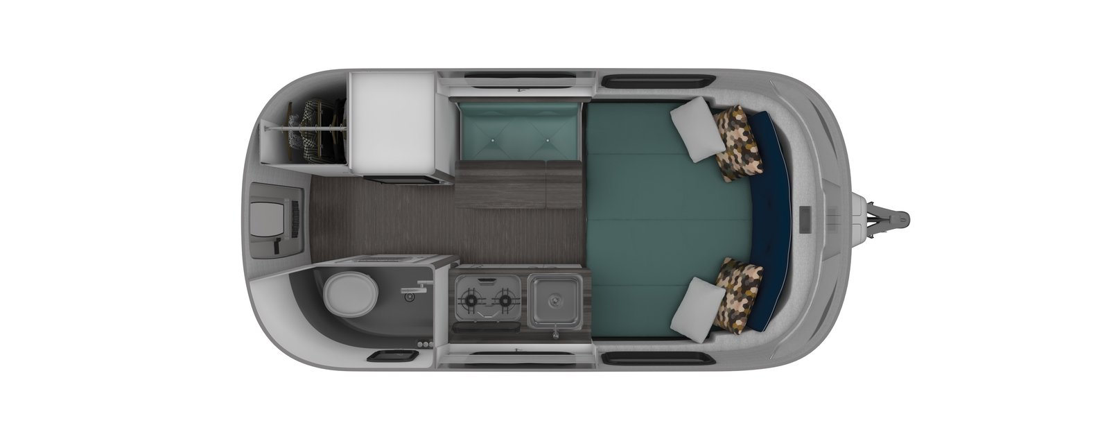 A floor plan with a permanent bed for longer trips.