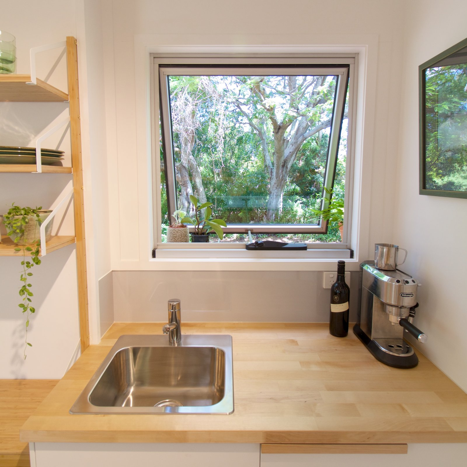 By resisting the urge to fill every inch of the tiny house, the team retains a spacious feel.