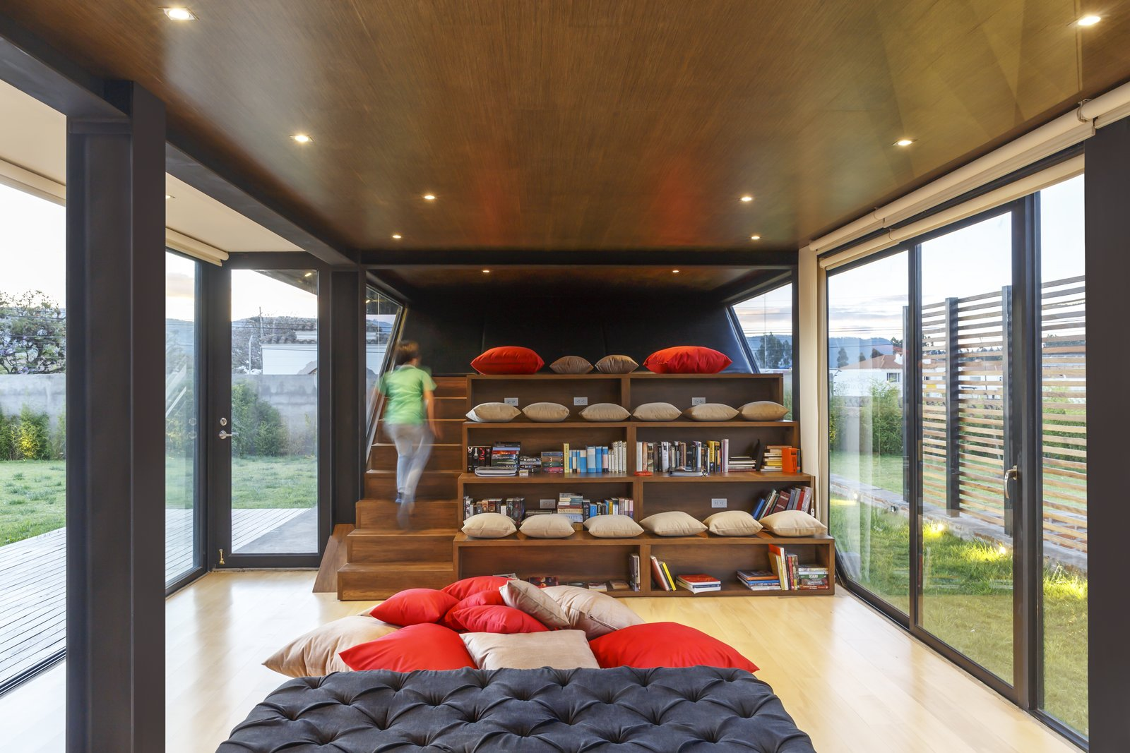 A stepped library and lounge area.