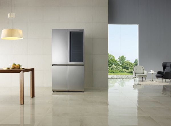 Knock twice on LG Signature Refrigerator's opaque, glass panel, InstaView door, and the surface becomes transparent, so you can see what you want to cook for dinner without opening the door, and causing cool air to escape.