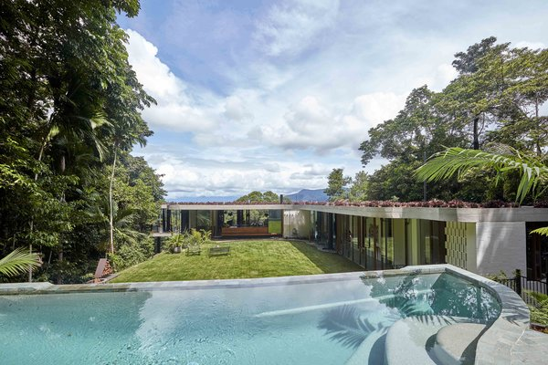 Behind the home, a glade facing northeast offers a protected outdoor oasis set within the rainforest ridge with a magnesium-filtered, above-ground pool.