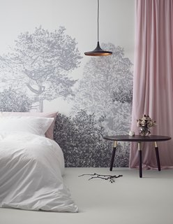 Here, Sian Zeng's Hua Trees Mural in a lovely gray shade is used in a hotel bedroom.