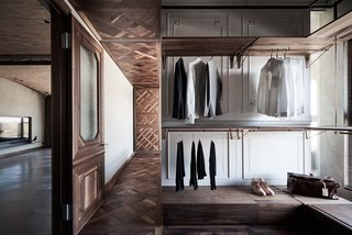 Sections of the walls and ceilings in the bedrooms were fitted with white panels that look like closet doors, hinting at a sense of being upside down. The apartment's floor plan consists of two parallel spaces.