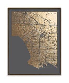 Los Angeles Map foil art print by Alex Elko Design