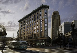 The hotel is located in the city's hip Mid-Market neighborhood. The historic building, which is cladded in brick, stone, and terracotta, was originally built in 1926 by Albert Pissis, an acclaimed local architect.