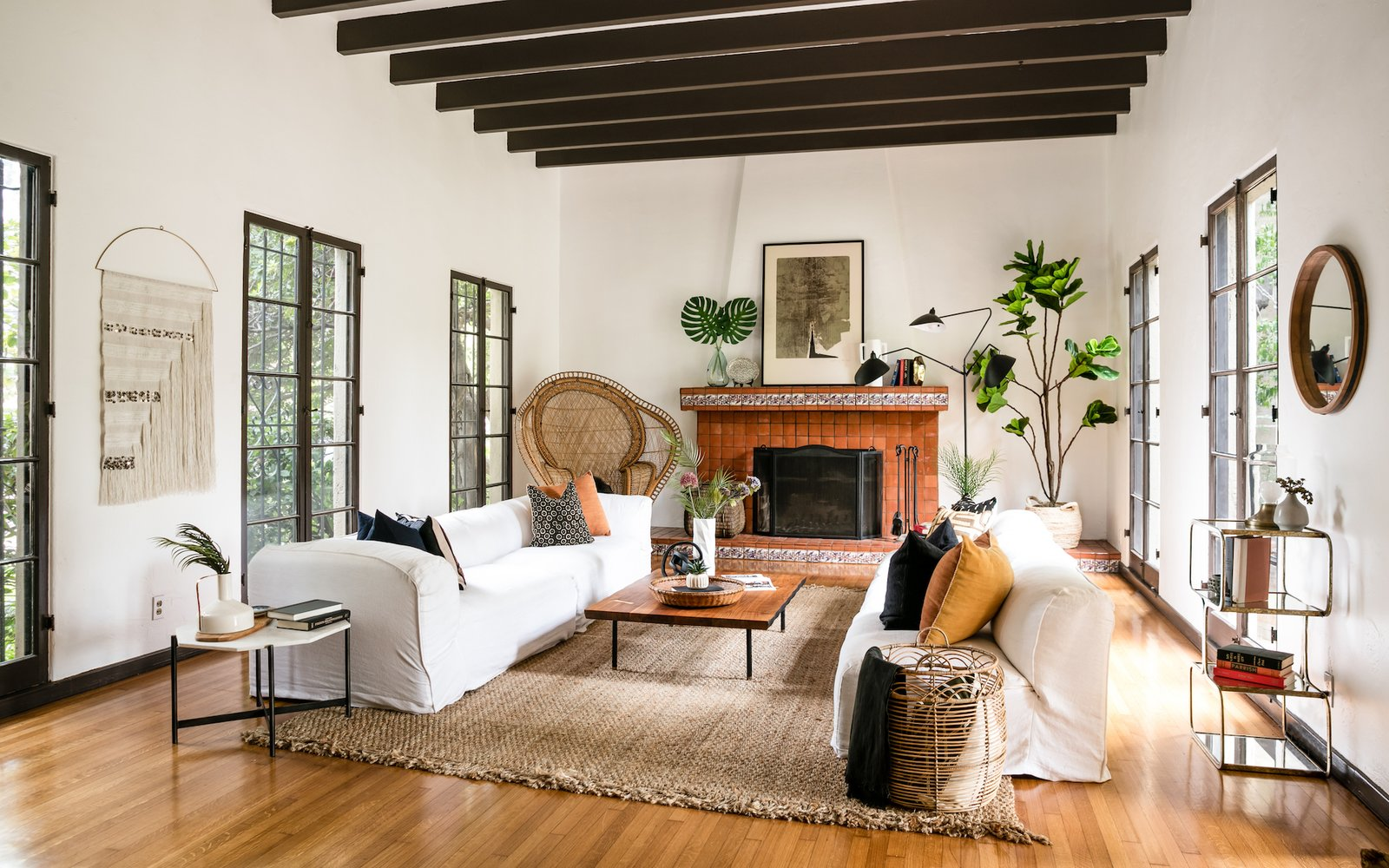 organic woven materials in spanish style home