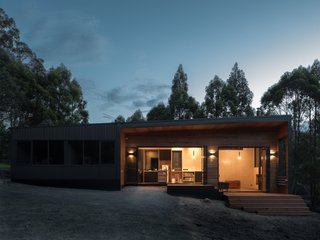 """The mono-pitch roof falls opposite to the stepping plan, creating a tall volume in the living room,"" says Hugh Maguire, co-founder of the firm. ""This allows a high-level window to capture views of the high-forested horizon in the west."""