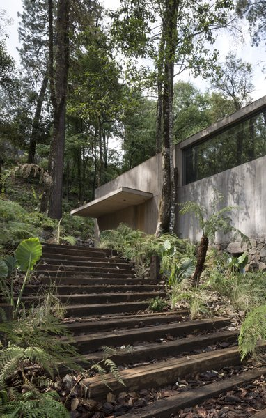 A single roof connects the concrete volumes.