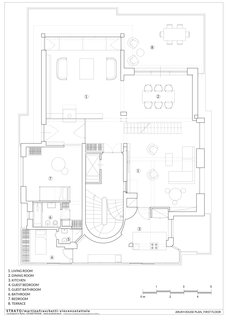 The floor plan of the lower level.