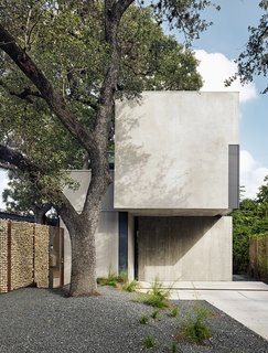 This massive Durand oak tree inspired the design of the house. Thanks to a wall of welded steel and tumbled limestone, the home has an abundance of privacy.