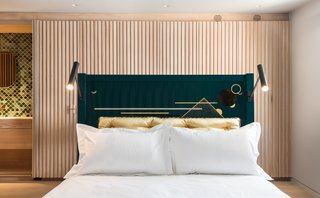Bed by Pedro da Costa Felgueiras for The New Craftsmen; vintage 60s Lita lights from 1stDibs.
