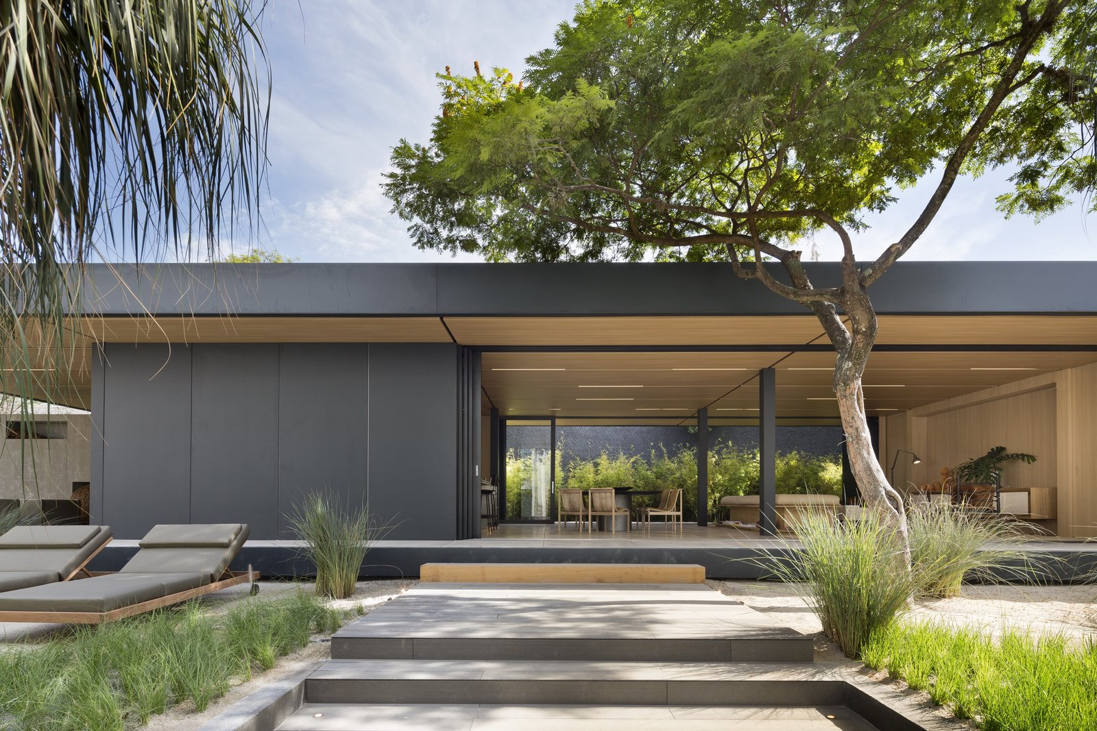 Exterior, House Building Type, Prefab Building Type, Wood Siding Material, Metal Siding Material, Flat RoofLine, and Green Roof Material  Photo 1 of 11 in This Eco-Minded Home in São Paulo Raises the Bar For Prefab