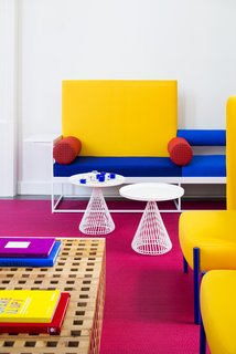 Bright, bold colors infuse the lobby.
