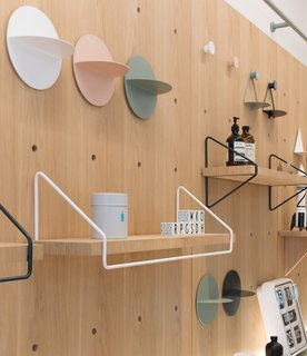 "The ""life board"" shelving and storage system was custom designed  by RIGI Design."