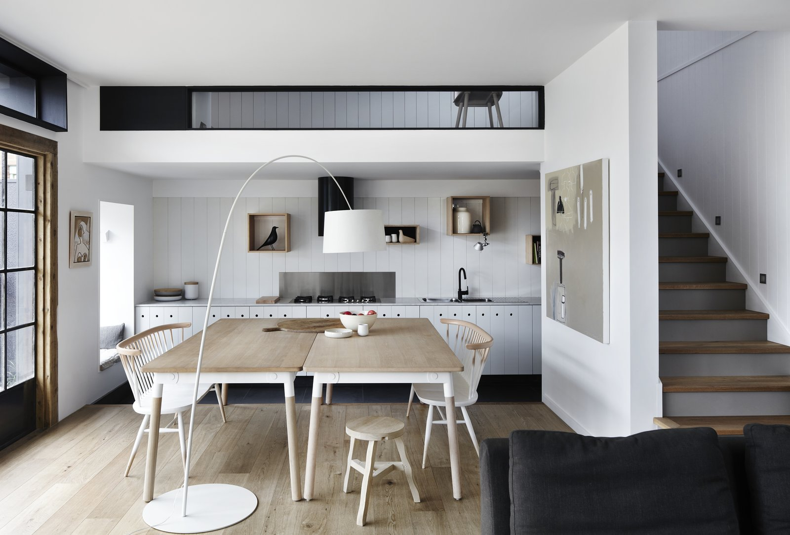 Dining, Floor, Light Hardwood, Stools, Chair, and Table  Best Dining Floor Light Hardwood Photos from A Melbourne Home Is Treated to a Striking Barn–Like Extension