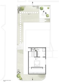 The floor plan of the master suite level.