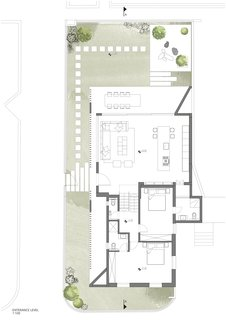 The floor plan of the entrance level.