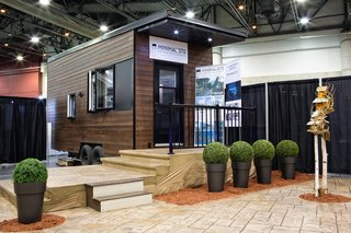 This is the very first Minimaliste tiny house. At 220 square feet, the model is characterized by its sleek roofline.