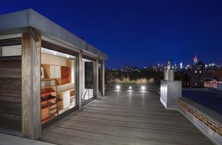 The architects made the most the penthouse's elevated position by opening it up to the roof.