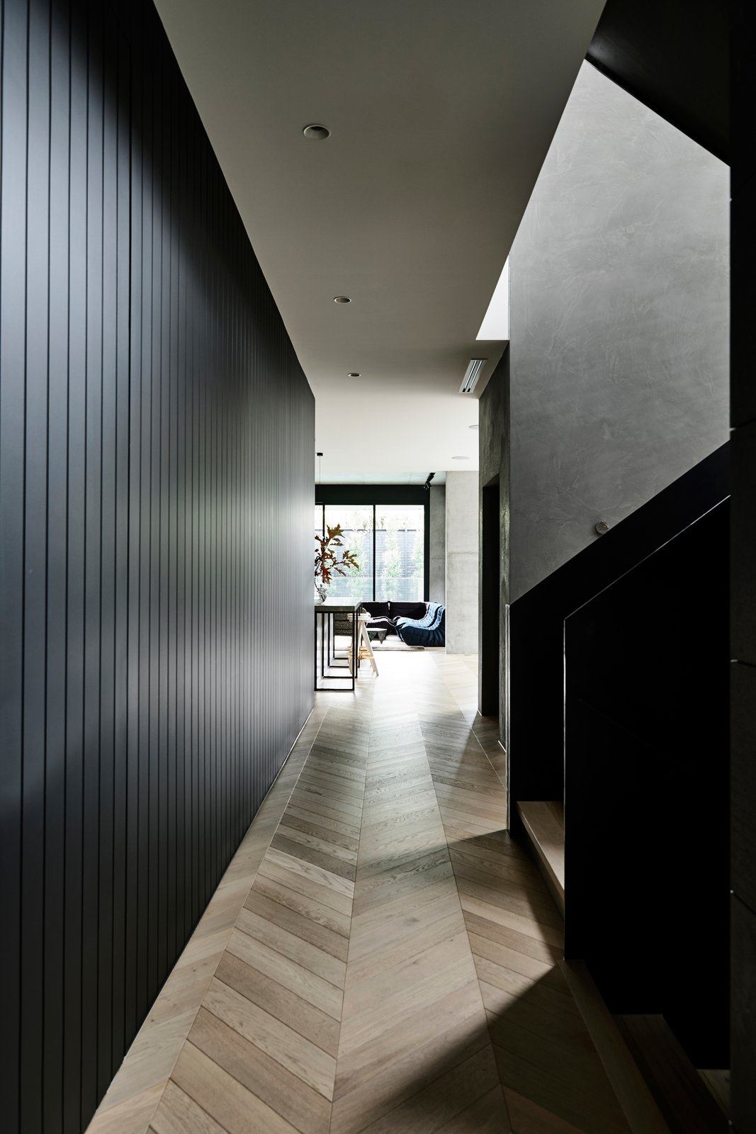 Hallway and Light Hardwood Floor A hallway with European Oak parquet floors.  Photo 14 of 20 in A Strong Builder Bond Results in a Sophisticated Australian Home